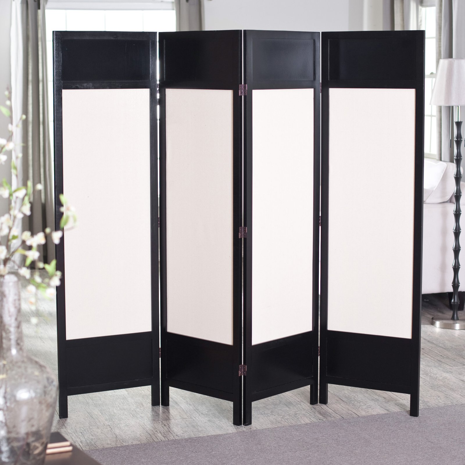 Griffin Canvas 4 Panel Room Divider - Black