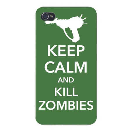 Apple Iphone Custom Case 5 5s AND SE Snap on - Keep Calm and Kill Zombies w/ Gun (Gun Zombie Halloween Iphone)
