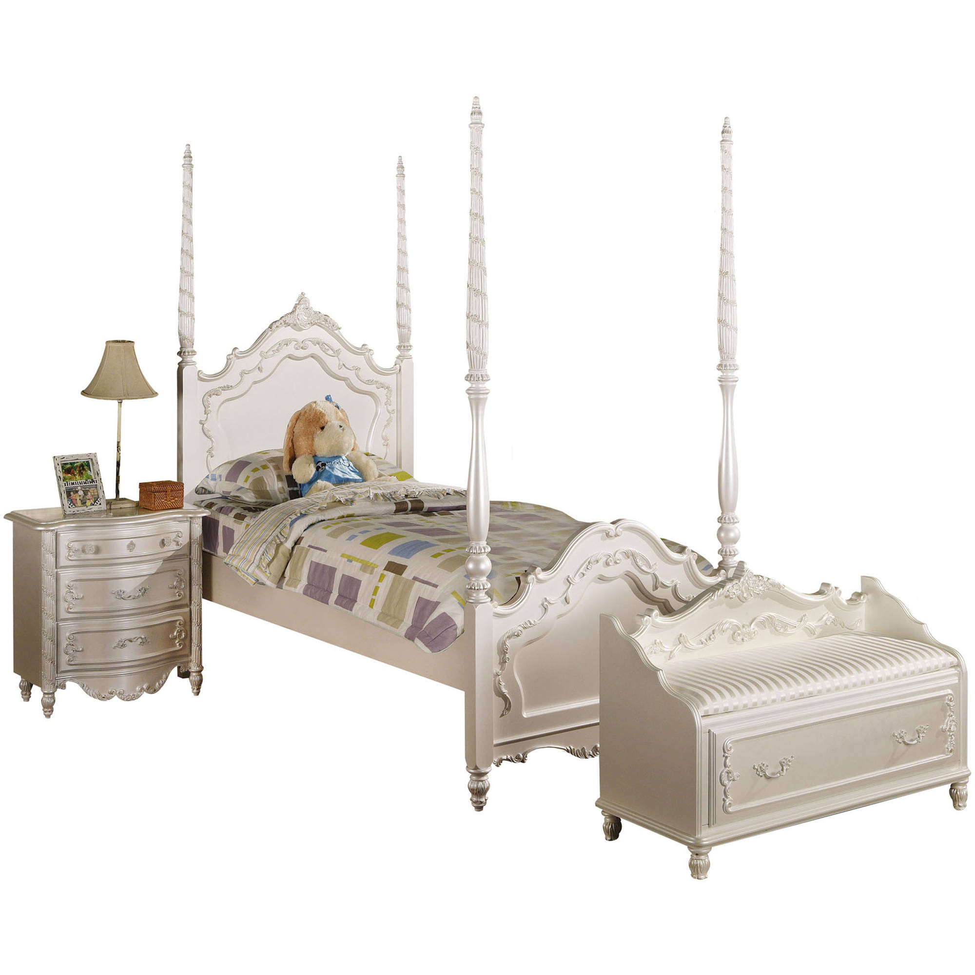 Acme Pearl Twin Poster Bed, Pearl White and Gold Brush Accent, Box 1 of 3 by Acme Furniture