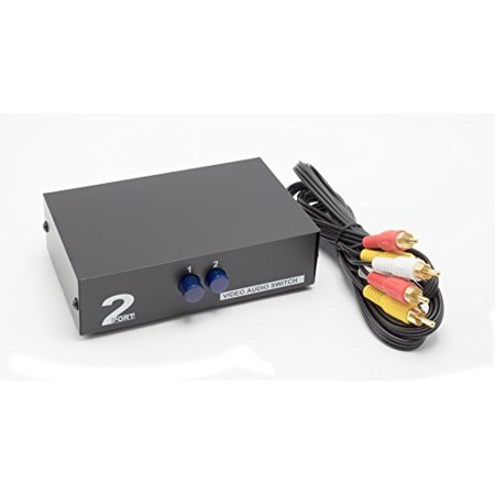 2 Way AV Switch by THE CIMPLE CO | 2 Input 1 Output RCA Selector Switch for Composite Audio and Video | Switcher Box | Includes RCA Composite Cable -