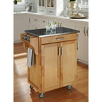Home Styles Cuisine Kitchen Cart, Natural with Stainless Steel Top