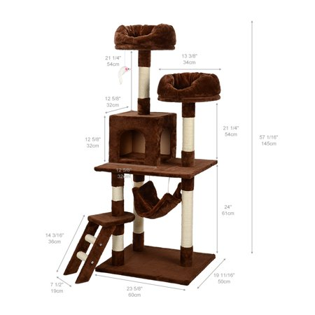 """57"""" Deluxe Cat Scratching Tree Kitten Condo Play House Furniture with Hammock , Brown - image 6 of 7"""