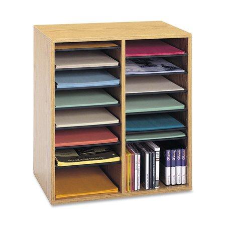 Wood Adjustable Literature Organizer, 16Compartment, Medium Oak