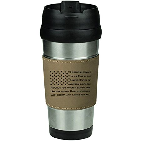 - Leather & Stainless Steel Insulated 16oz Travel Mug American Flag Pledge Of Allegiance