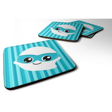 Set of 4 Halloween Ghost Superhero Foam Coasters Set of 4 BB6963FC - Halloween Entertaining Serveware
