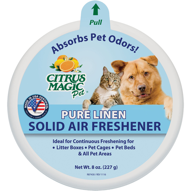 Citrus Magic Pet Solid Natural Air Freshener, Fresh Linen Scent, 8 Oz