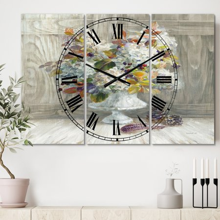 DESIGN ART Designart 'Rustic Florals White' Cottage 3 Panels Oversized Wall CLock - 36 in. wide x 28 in. high - 3 panels ()