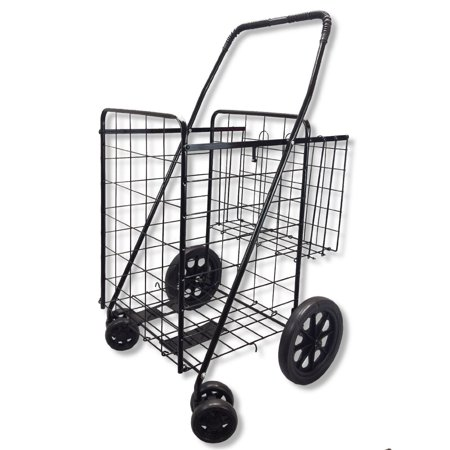 Upt Swivel Wheels Jumbo Folding Shopping Grocery Laundry Cart With Extra Basket 360 Rotating Front Wheels  Black