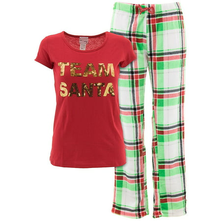 not a morning person juniors red team santa christmas pajamas walmartcom - Walmart Christmas Pajamas