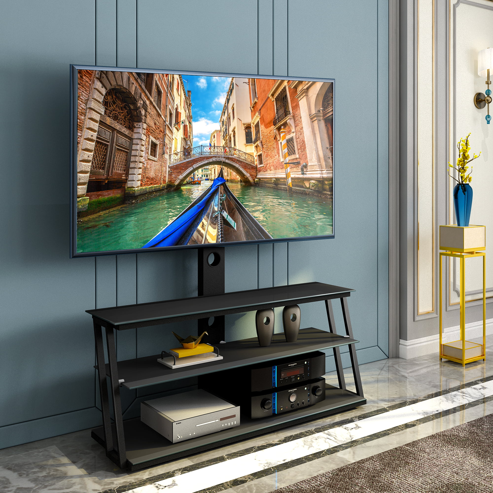 Universal Swivel Floor TV Stand with Shelves for 32-65 inch Flat Screen TVs