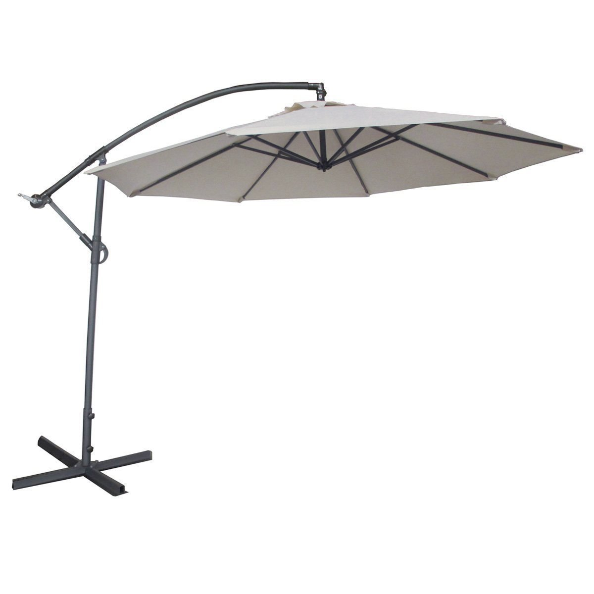 Image of Abba Patio 10-Ft Offset Cantilever Hanging Patio Umbrella with Base, Easy Crank Operation, 8 Ribs, Air Vented Top, Ivory