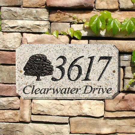 Oak Leaf Plaque (QualArc EXE-4702-AL-OK 9 in. StoneMetal Oak Tree Logo Rectangle Solid Granite Address Plaque in Autumn Leaf)