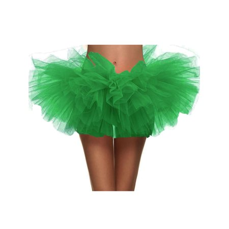 Women 3-Layered Tulle Tutu skirt Halloween Costume Accessory,Sante - Green Tutu