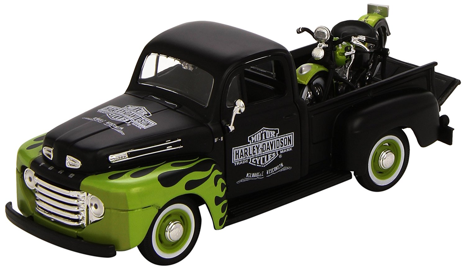 1:24 Scale 1948 Ford F-1 Pickup and Harley Davidson 1948 FL Panhead Diecast Vehicles... by