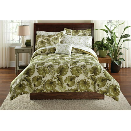 Mainstays Palm Grove Bed in a Bag Coordinated Bedding, Queen