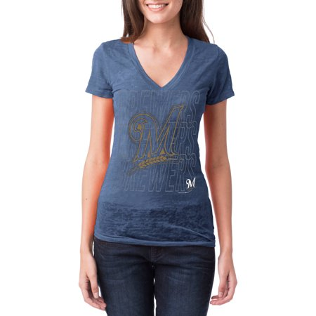 Milwaukee Brewers Womens Short Sleeve Burnout Graphic Tee