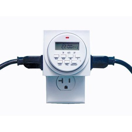 Lap Timer - Digital Timer Programmable for Lights Lamps Dual 110v 15 Amp Outlets, Two 3 Prong Outlets, 15 Amps, 120V AC 60Hz (outlet exit on each side) By Chicago Pneumatic