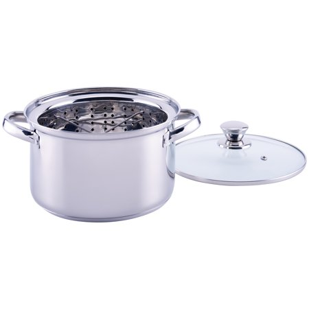 Mainstays Stainless Steel 4 Quart Steamer Pot with Steamer Insert and Lid Gourmet Steamer Insert