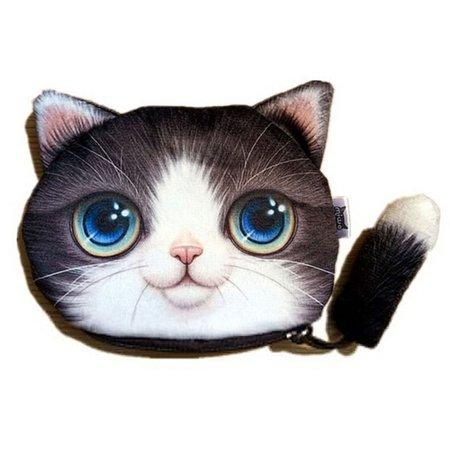 SHOPFIVE Cute Cat Face Zipper Coin Case Women Pouch Wallet Makeup Purse Bag Portable US](Zipper Face Makeup)