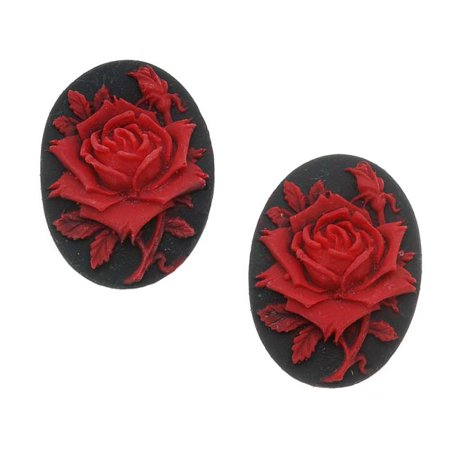 Rose Red Cameo (Lucite Oval Cameo Black With Red Rose 25X18mm (2))