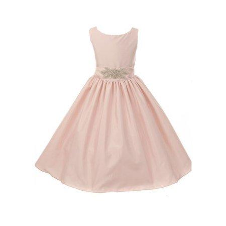 Girl Victorian Dress (Little Girls Blush Victorian Silky Satin Brooch Accent Flower Girl)