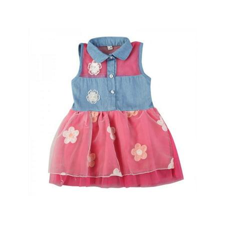25bfdce35 Maxsun - Cute Kid Baby Girl Denim Shirt Floral Lace Mesh Princess Tutu Dress  - Walmart.com