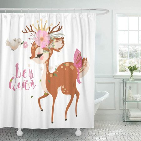 PKNMT Cute Romantic Dreaming Baby Princess Deer Fawn with Floral Wreath Crown Bird Waterproof Bathroom Shower Curtains Set 66x72 inch