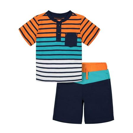 Striped Pocket Raglan T-shirt & Drawstring French Terry Short, 2pc Outfit Set (Toddler Boys) (Toddler Shirt Set)
