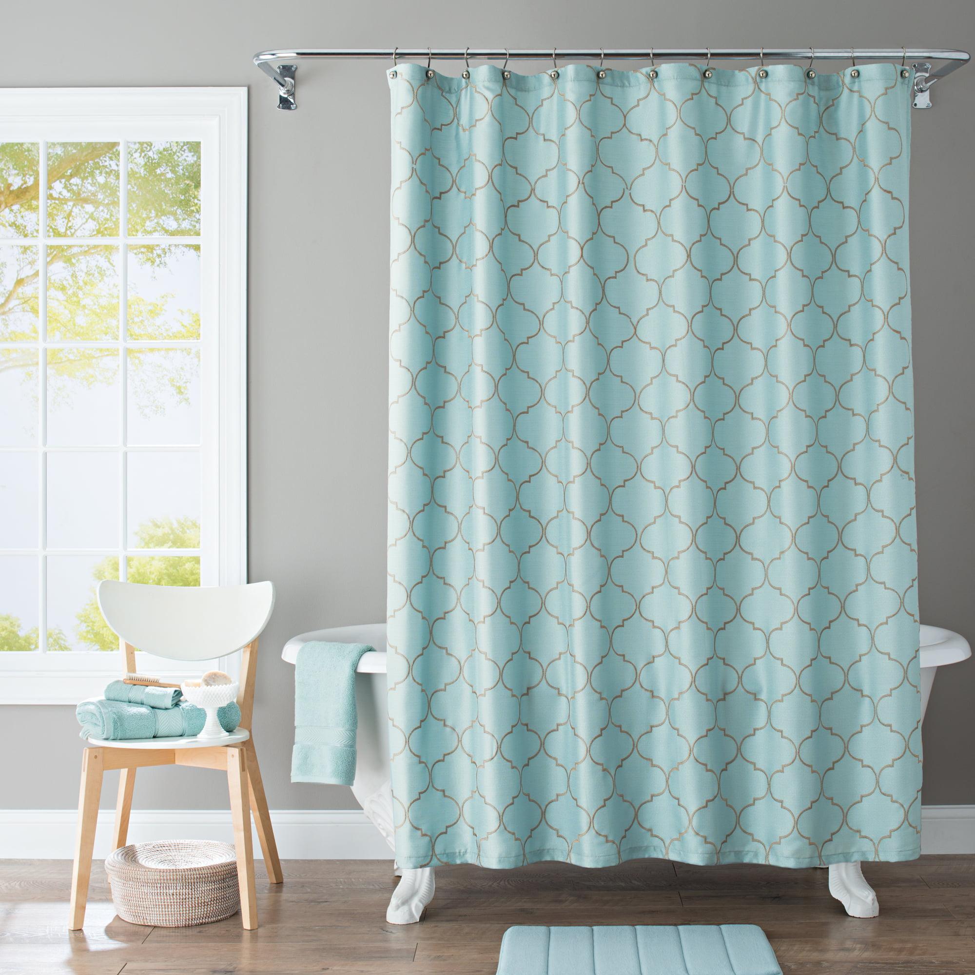 Better Homes Gardens Scalloped Trellis Embroidered Polyester Shower Curtain 70x72 Walmart Com Walmart Com