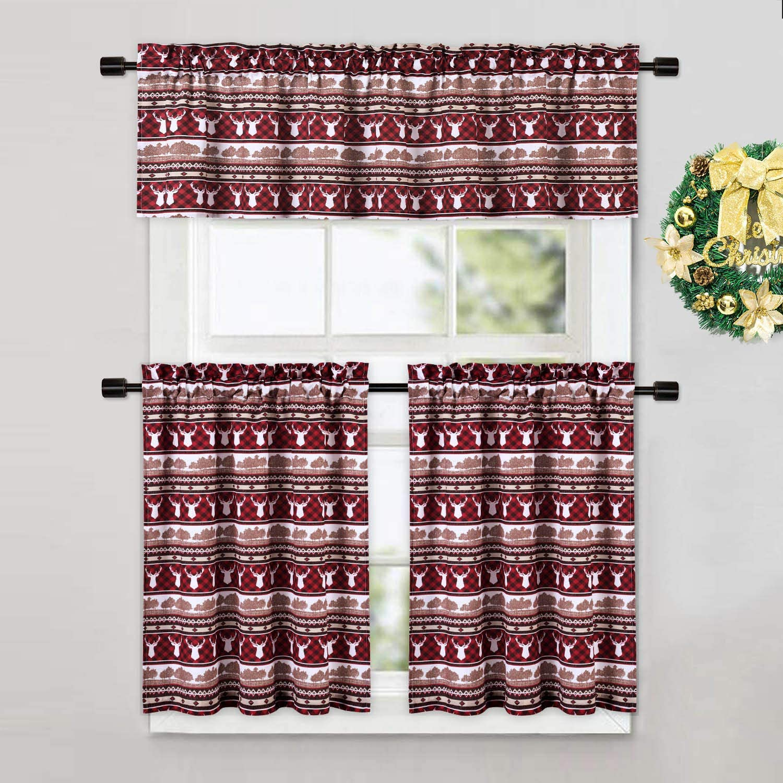 Caromio Cafe Curtains 30 Inch Length Christmas Reindeer Plaid Printed Kitchen Decor Short Tier Curtains Small Half Window Bathroom Window Curtains Red Walmart Com Walmart Com