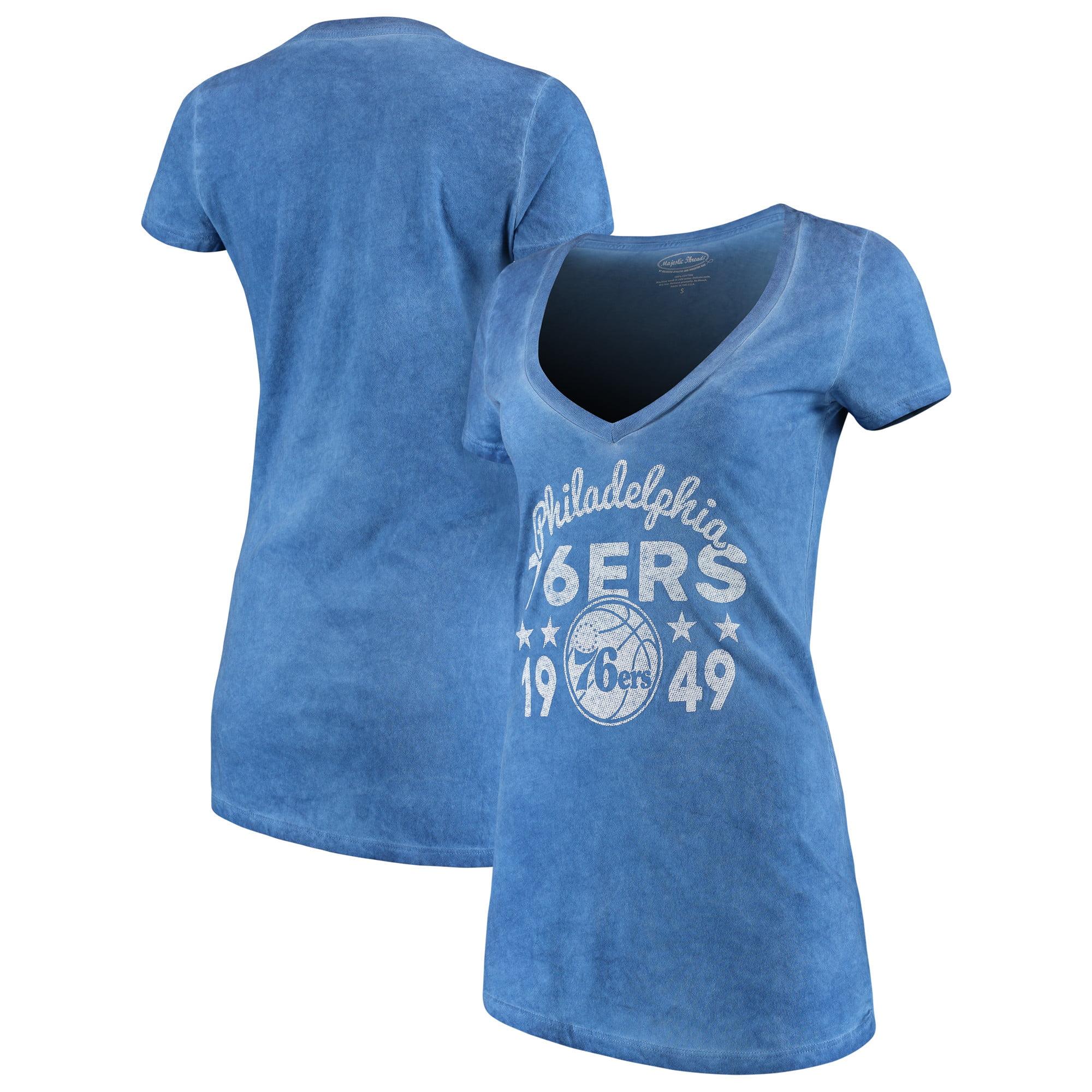Philadelphia 76ers Majestic Threads Women's City Over Pop Premium V-Neck T-Shirt - Royal