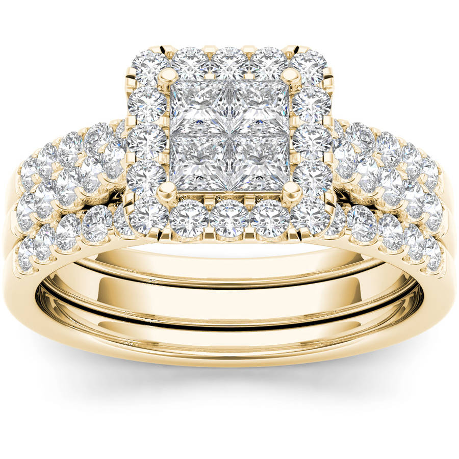 Imperial 1-1 4 Carat T.W. Diamond Single Halo Cluster Two-Band 14kt Yellow Gold Engagement Ring Set by Imperial Jewels