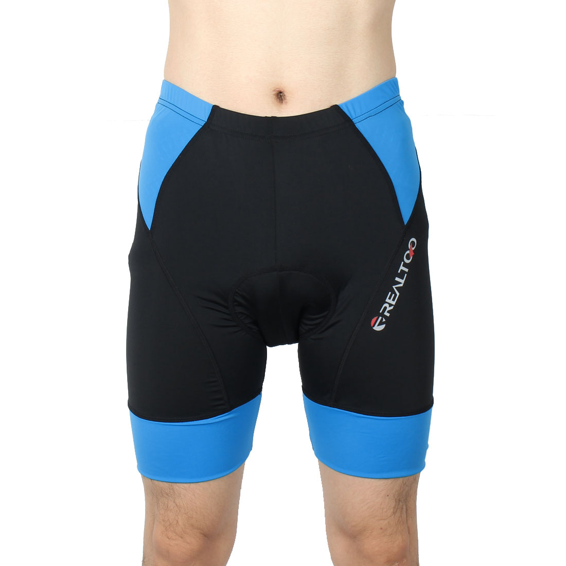 REALTOO Authorized Men Bicycle Underwear Cycling Shorts Black Blue L (W 36)