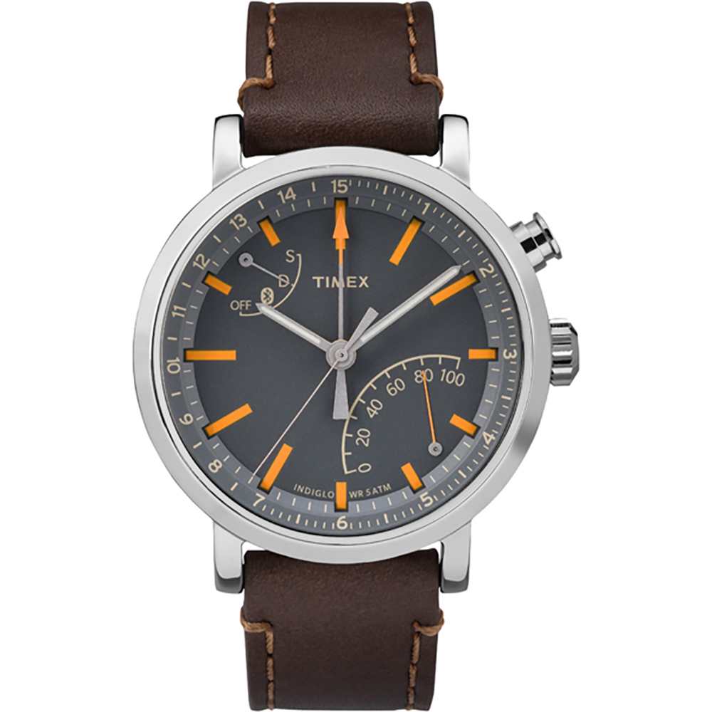 TIMEX METROPOLITAN+ SILVERTONE CASE GREY DIAL DARK BROWN