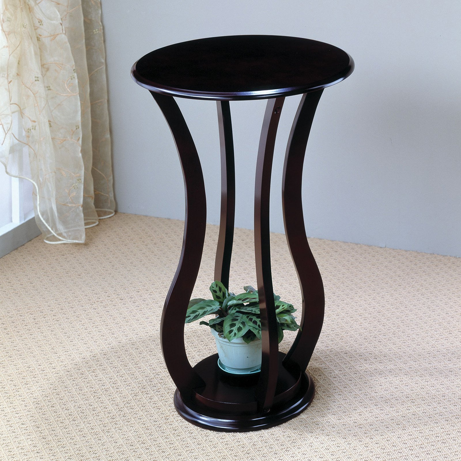 Coaster Round Accent Table with Curved Legs, Espresso Finish