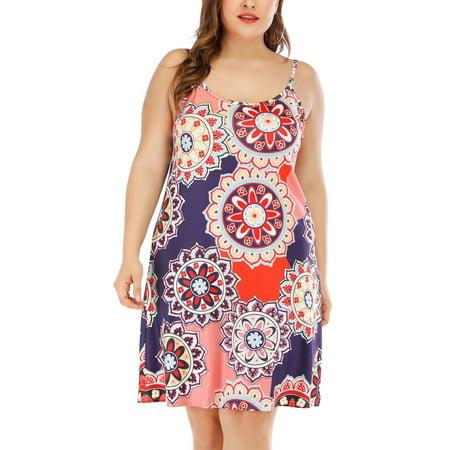 Women\'s Plus Size Boho Summer Dresses Floral Print Sleeveless Spaghetti  Strap Mini Dress Casual Loose Holiday Beach Sundress