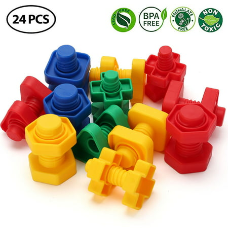 Jumbo Nuts And Bolts Toys For Toddler Kids Girls Boy 1 2 3 4 5 Years Old 24pcs Fine Motor Matching Toys With Storage Case For Preschoolers