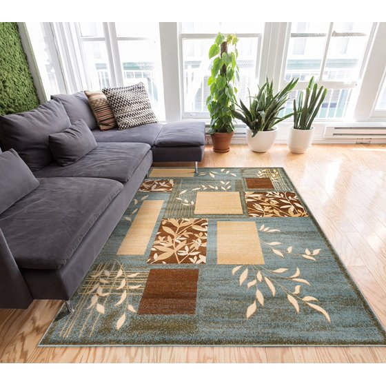 Great Forest Blue Floral Nature Modern Formal Area Rug 3x5 4x6 311 X 53 Easy To Clean Stain Fade Resistant