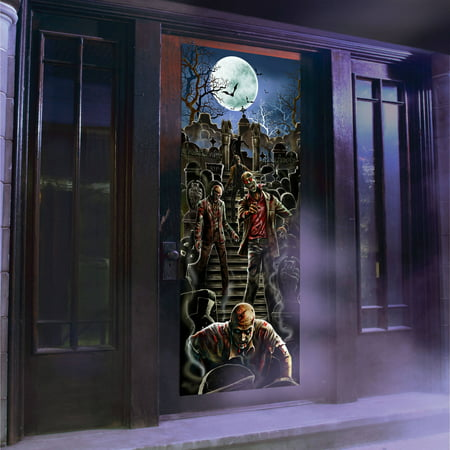 Zombie light and sound door panel halloween decoration for Decoration zombie