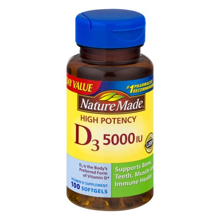 Nature Made D  5000 Iu High Potency Softgels Everyday Value  100 Count