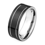 Black Plated Stainless Steel Flat Band Dual Grooved Ring