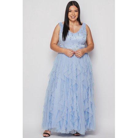 Teeze Me Women's Plus Size Sleeveless Lace Sequin V- Neck Long Petal Mesh Ball Gown dress with  jewel belt, long petal party skirt with back zipper closure Prom (Tadashi Shoji Sequin Lace Gown Plus Size)
