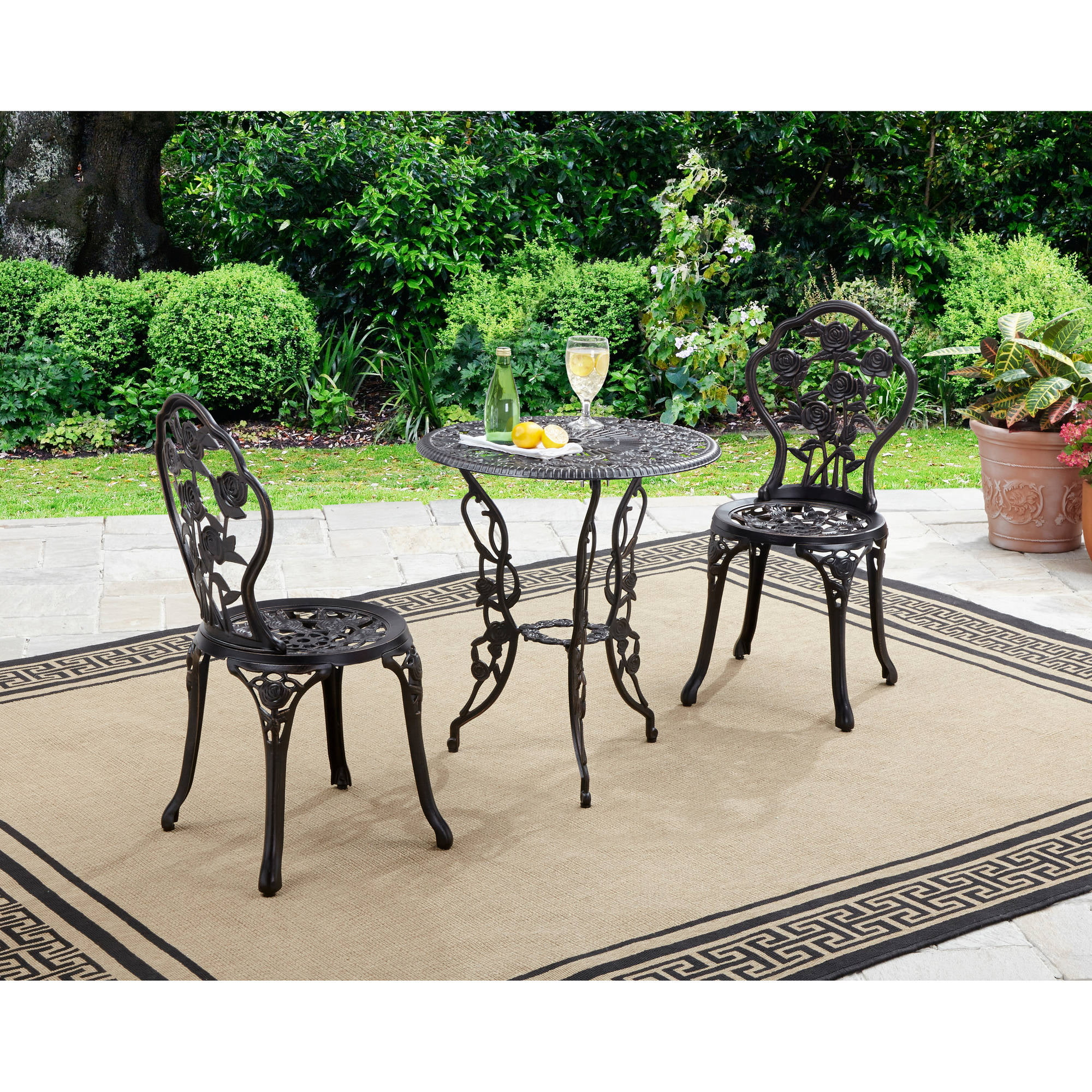 better homes and gardens rose 3 piece bistro set walmartcom - Garden Furniture 3 Piece