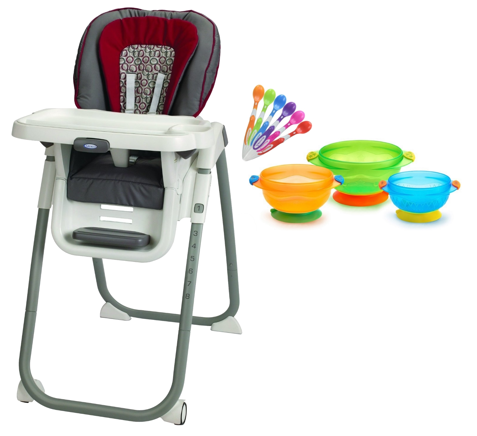 Graco TableFit Highchair with Infant Spoons & Suction Feeding Bowls, Finley by Graco