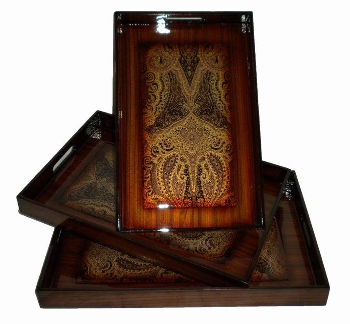 Decorative Wooden Trays w Paisley Print - Set of Three
