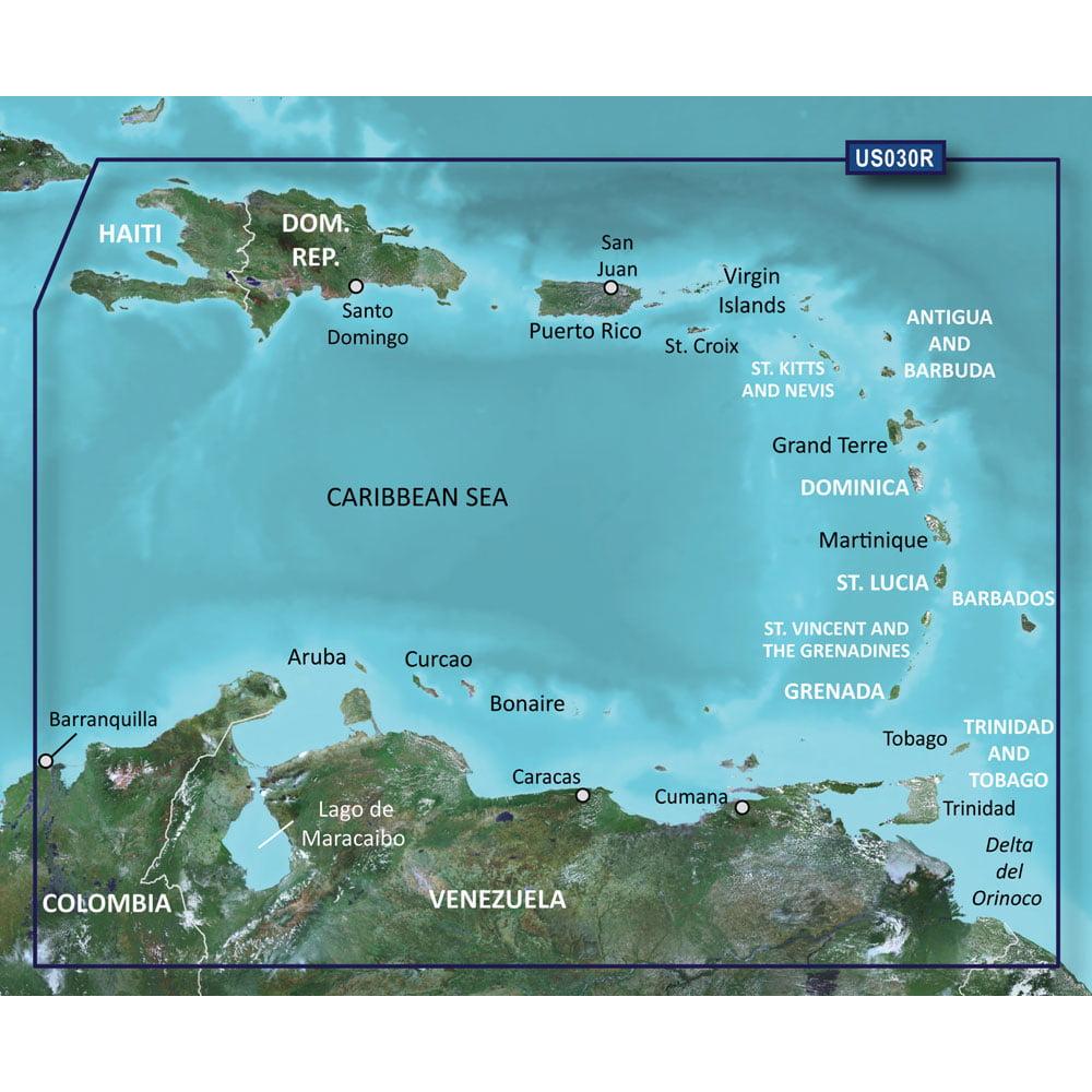 GARMIN BLUECHART G2 HXUS030R  SOUTHEAST CARIBBEAN MICROSD