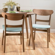 Noble House Odelia Mid-Century Modern Dining Chairs (Set of 2), Mint and Natural Walnut