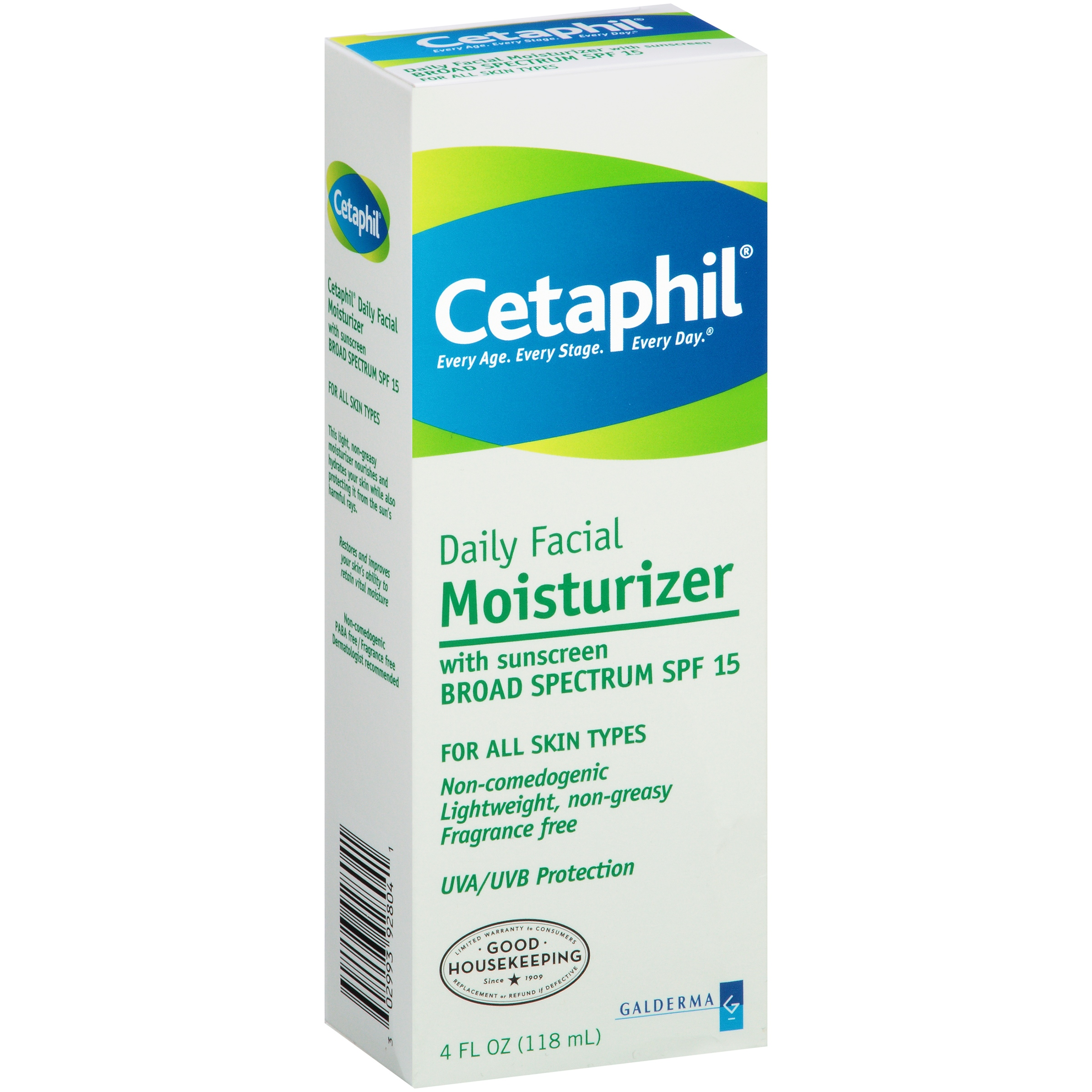 Cetaphil All Skin Types SPF 15 Daily Facial Moisturizer, 4.0 FL OZ