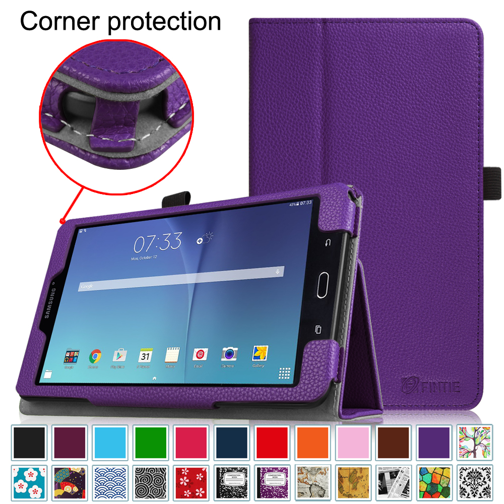 "Fintie Samsung Galaxy Tab E 8.0"" Tablet Folio Case - Slim Fit Premium Vegan Leather Cover, Violet"