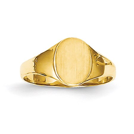 14k Yellow Gold Child's High Polished Oval Baby Signet (Yellow Gold Oval Signet Ring)
